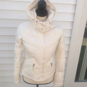 J. Crew down jacket with hood in excellent